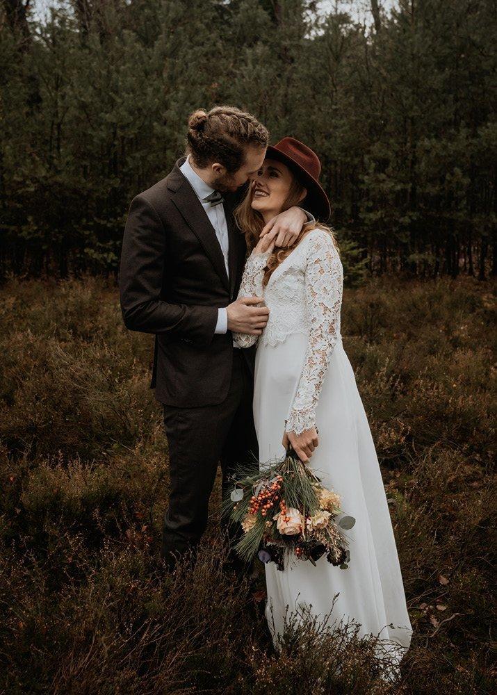 Styled shoot: cozy winter elopement in het bos